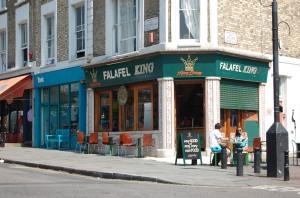 Outside Falafel King on Portobello Road