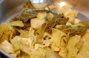 Warm cabbage in skillet