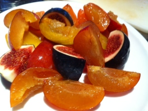 Quartered plums and figs